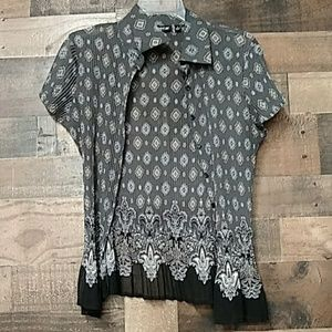 Apt9 multicolored S blouse semi sheer short sleeve
